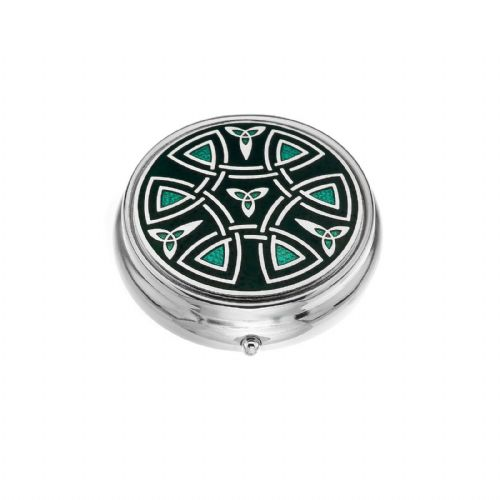 Large Pill Box Silver Plated Celtic Trinity and Coils Green Brand New & Boxed